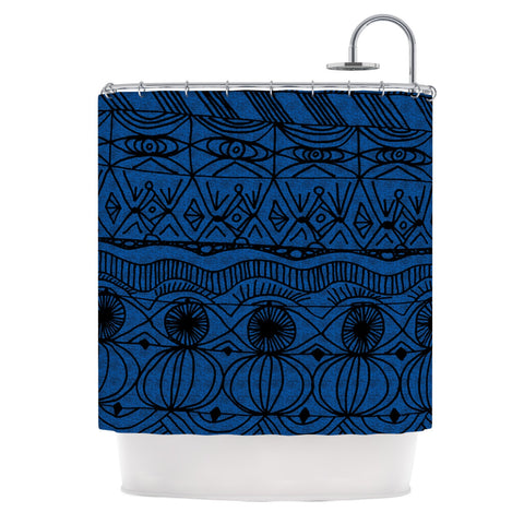 "Catherine Holcombe ""Black and Blue"" Pattern Shower Curtain - KESS InHouse"