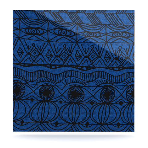 "Catherine Holcombe ""Black and Blue"" Pattern Luxe Square Panel - KESS InHouse  - 1"