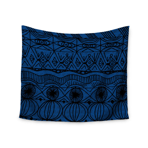 "Catherine Holcombe ""Black and Blue"" Pattern Wall Tapestry - KESS InHouse"