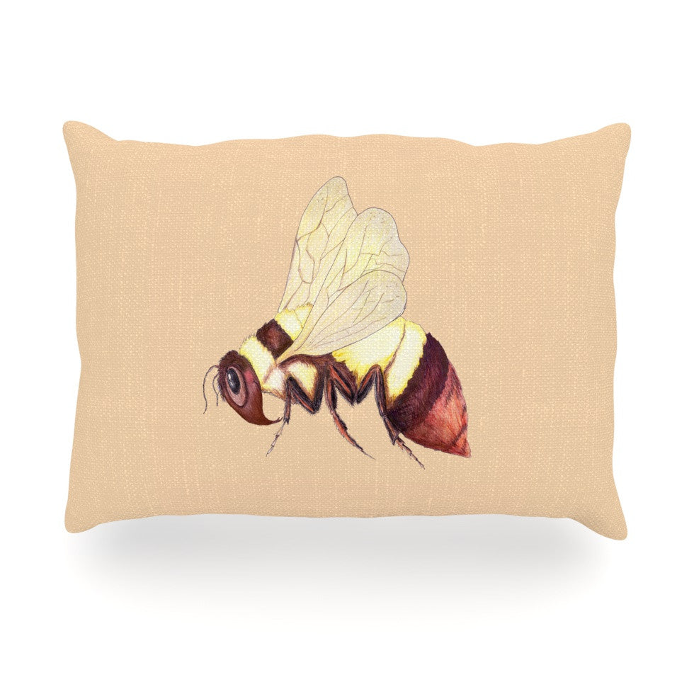 "Catherine Holcombe ""Bee Happy Beige"" Oblong Pillow - KESS InHouse"