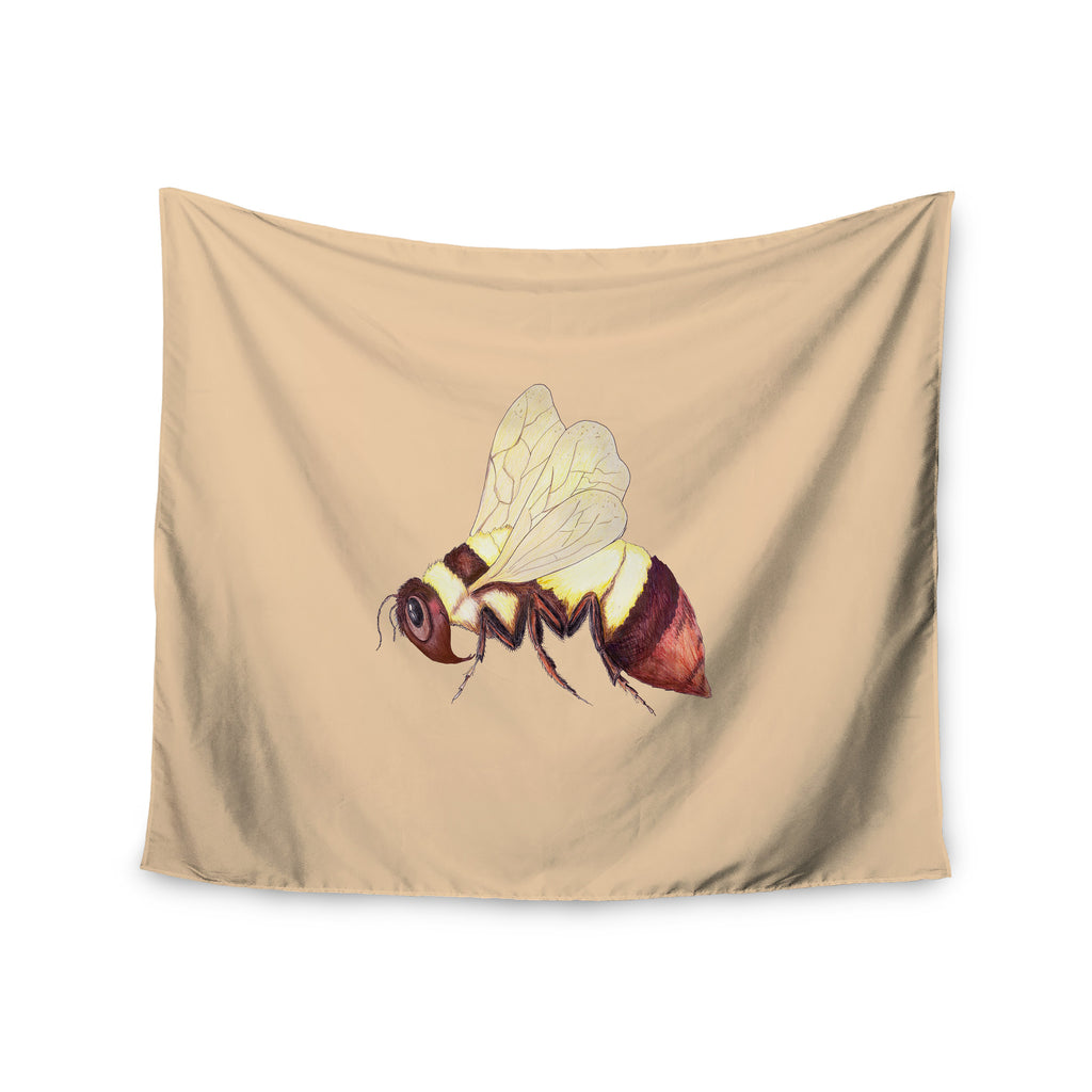 "Catherine Holcombe ""Bee Happy Beige"" Wall Tapestry - KESS InHouse  - 1"