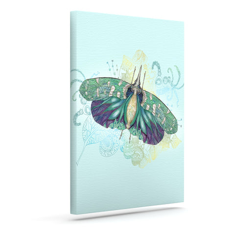"Catherine Holcombe ""Blue Deco"" Teal Moth Canvas Art - KESS InHouse  - 1"