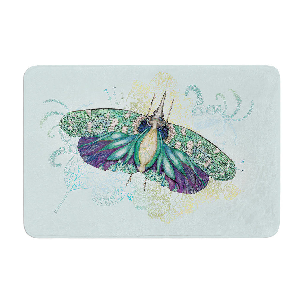 "Catherine Holcombe ""Blue Deco"" Teal Moth Memory Foam Bath Mat - KESS InHouse"