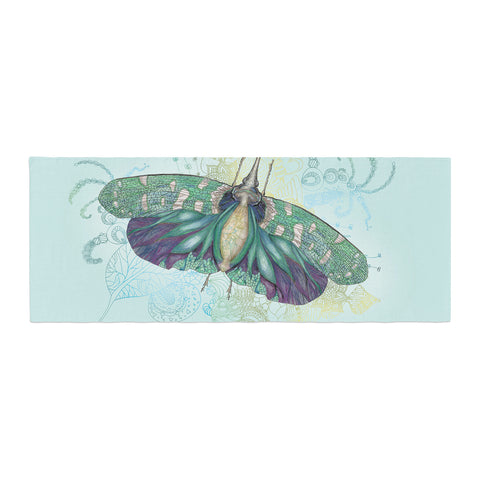 "Catherine Holcombe ""Blue Deco"" Teal Moth Bed Runner - KESS InHouse"
