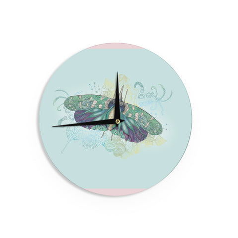 "Catherine Holcombe ""Blue Deco"" Teal Moth Wall Clock - KESS InHouse"