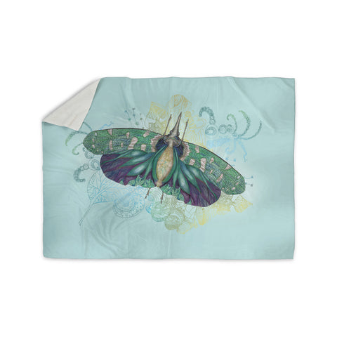 "Catherine Holcombe ""Blue Deco"" Teal Moth Sherpa Blanket - KESS InHouse  - 1"