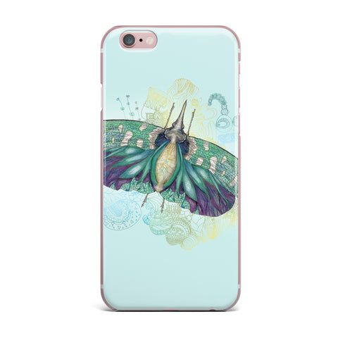 "Catherine Holcombe ""Blue Deco"" Teal Moth iPhone Case - KESS InHouse"