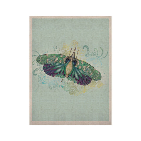 "Catherine Holcombe ""Blue Deco"" Teal Moth KESS Naturals Canvas (Frame not Included) - KESS InHouse  - 1"