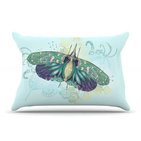 "Catherine Holcombe ""Blue Deco"" Teal Moth Pillow Sham - KESS InHouse"