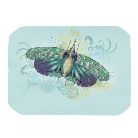 "Catherine Holcombe ""Blue Deco"" Teal Moth Place Mat - KESS InHouse"