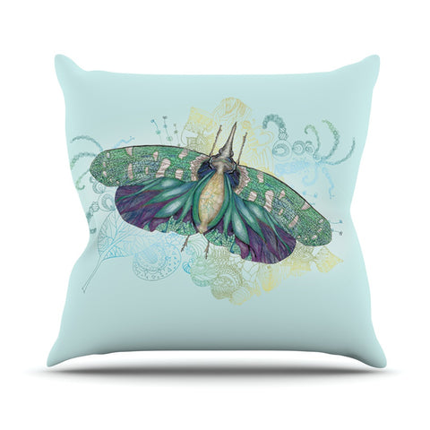 "Catherine Holcombe ""Blue Deco"" Teal Moth Outdoor Throw Pillow - KESS InHouse  - 1"