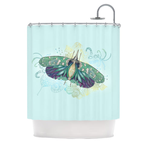 "Catherine Holcombe ""Blue Deco"" Teal Moth Shower Curtain - KESS InHouse"