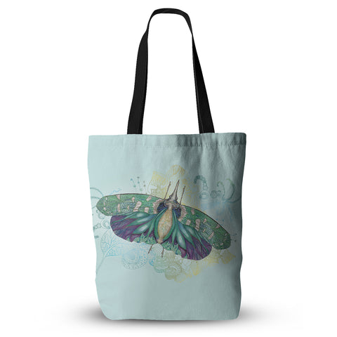 "Catherine Holcombe ""Blue Deco"" Teal Moth Everything Tote Bag - KESS InHouse  - 1"