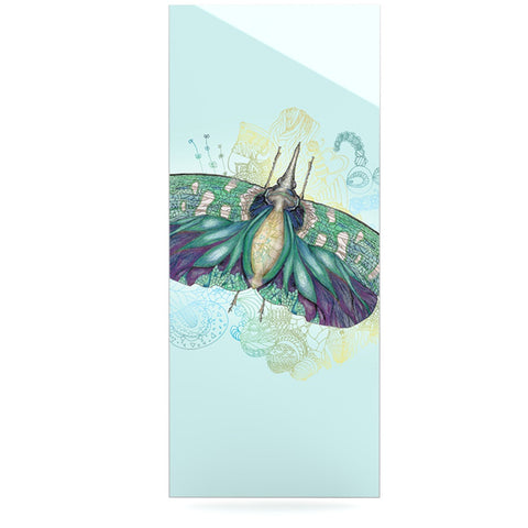 "Catherine Holcombe ""Blue Deco"" Teal Moth Luxe Rectangle Panel - KESS InHouse  - 1"