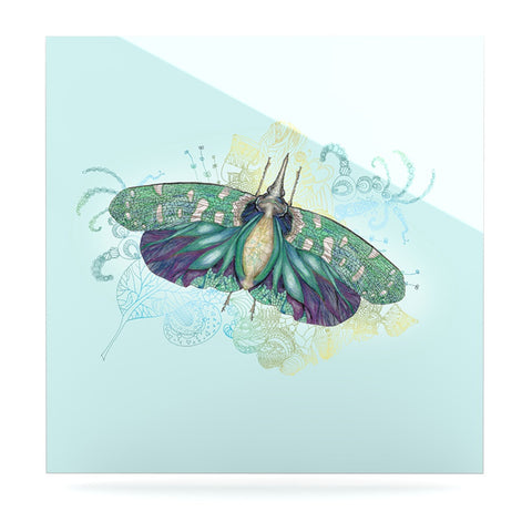 "Catherine Holcombe ""Blue Deco"" Teal Moth Luxe Square Panel - KESS InHouse  - 1"