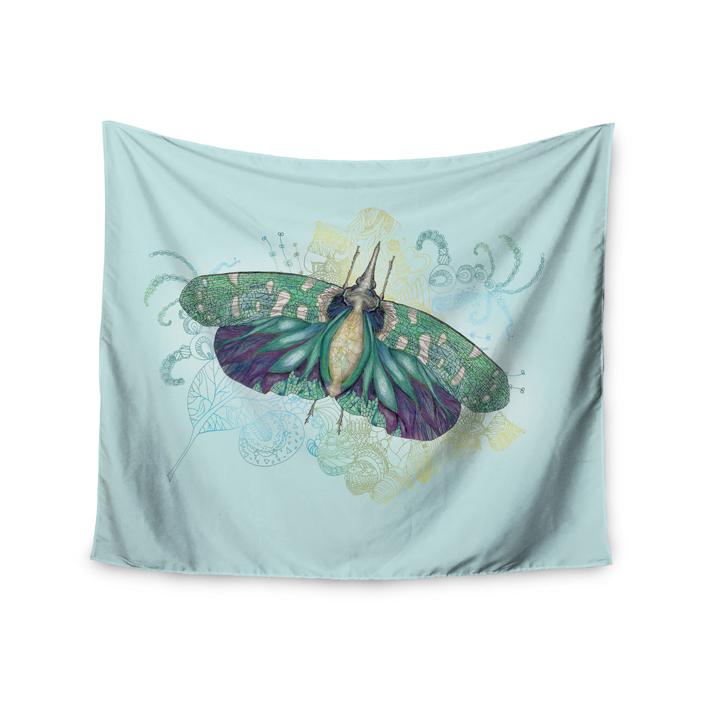 "Catherine Holcombe ""Blue Deco"" Teal Moth Wall Tapestry - KESS InHouse  - 1"