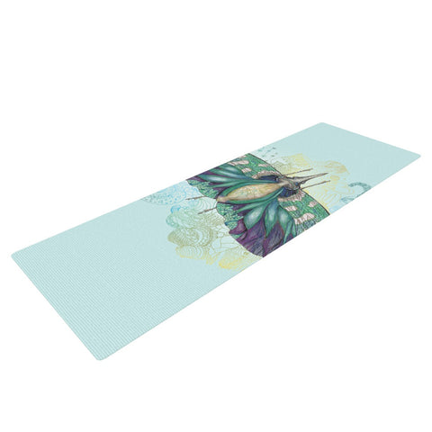 "Catherine Holcombe ""Blue Deco"" Teal Moth Yoga Mat - KESS InHouse  - 1"