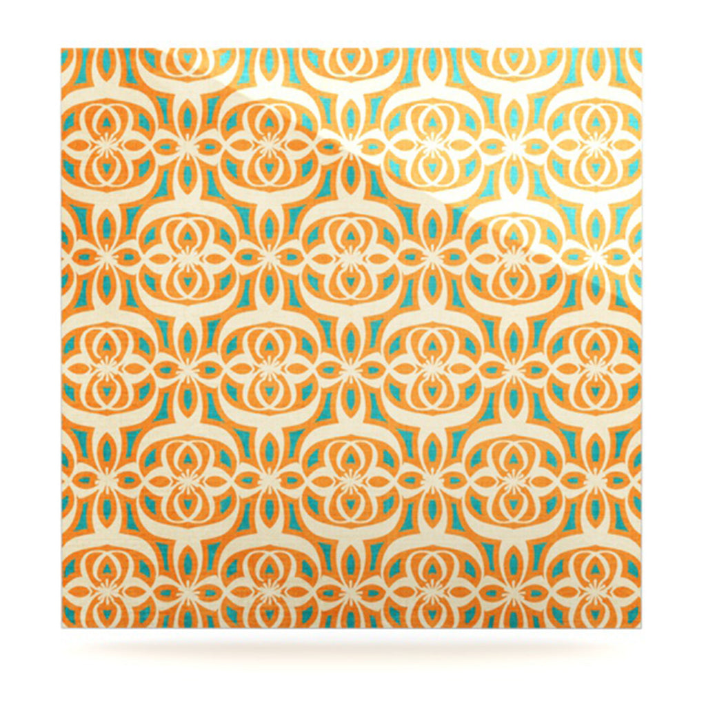 "Catherine McDonald ""Swan Lake Turquoise"" Teal Orange Luxe Square Panel - KESS InHouse  - 1"