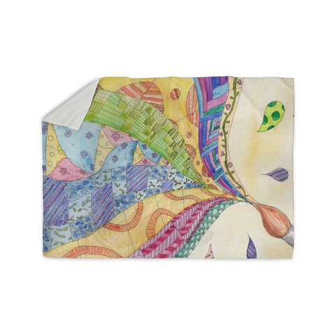 "Catherine Holcombe ""The Painted Quilt"" Sherpa Blanket - KESS InHouse  - 1"