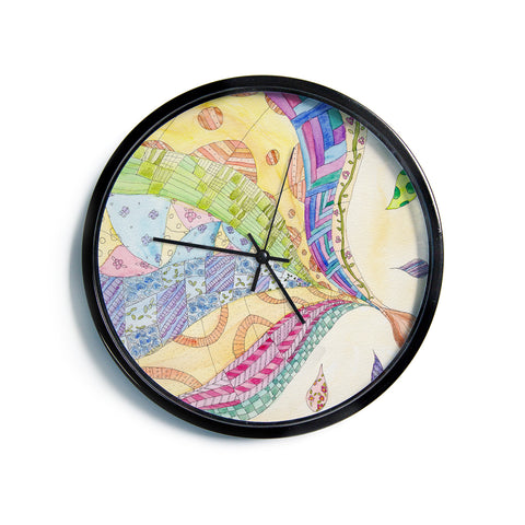 "Catherine Holcombe ""The Painted Quilt""  Modern Wall Clock"