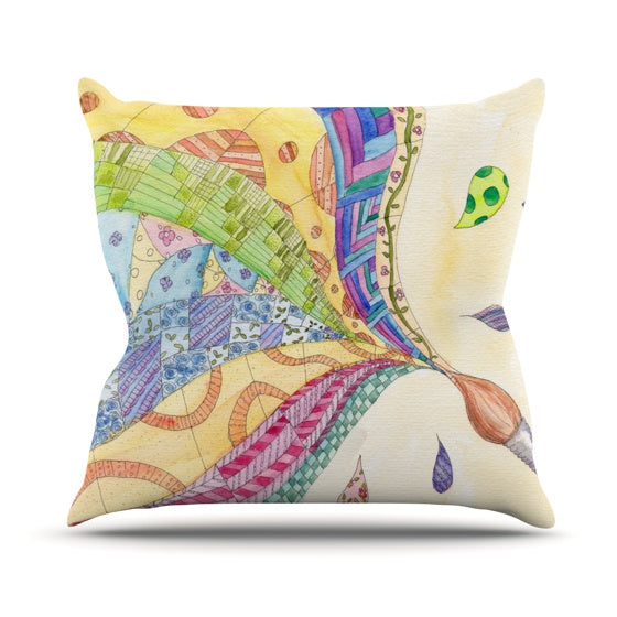 "Catherine Holcombe ""The Painted Quilt"" Throw Pillow - KESS InHouse  - 1"