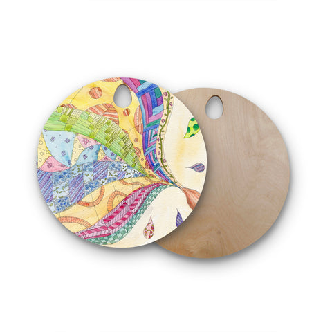 "Catherine Holcombe ""The Painted Quilt"" Round Wooden Cutting Board"
