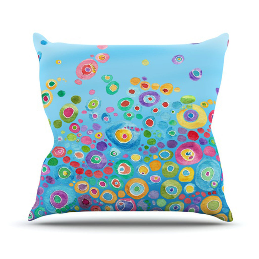 "Catherine Holcombe ""Inner Circle Blue"" Outdoor Throw Pillow - KESS InHouse  - 1"