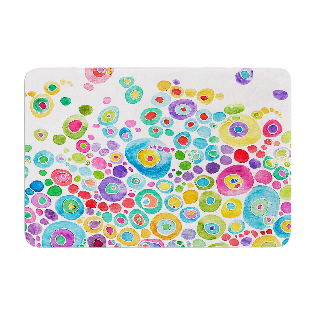 "Catherine Holcombe ""Inner Circle White"" Memory Foam Bath Mat - KESS InHouse"
