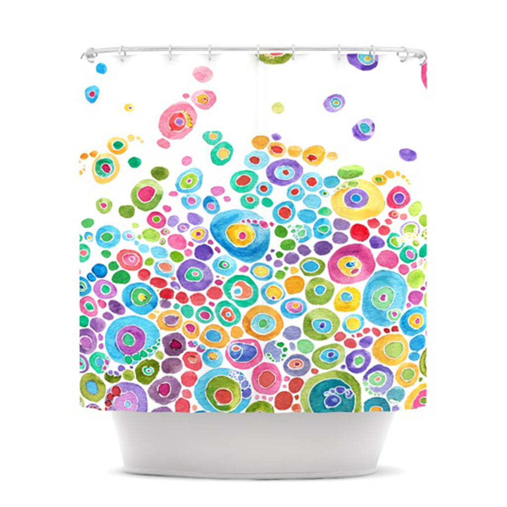 "Catherine Holcombe ""Inner Circle White"" Shower Curtain - KESS InHouse"