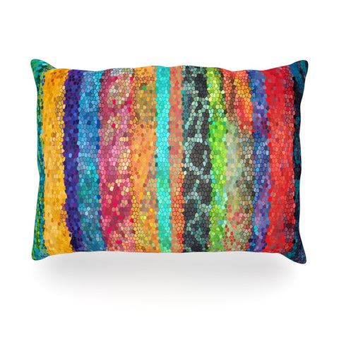 "Catherine Holcombe ""Stained Glass Batik Mosaic Stripe"" Oblong Pillow - KESS InHouse"