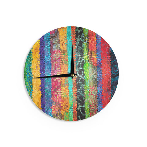 "Catherine Holcombe ""Stained Glass Batik Mosaic Stripe"" Wall Clock - KESS InHouse"