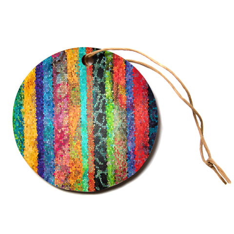 "Catherine Holcombe ""Stained Glass Batik Mosaic Stripe""  Circle Holiday Ornament"