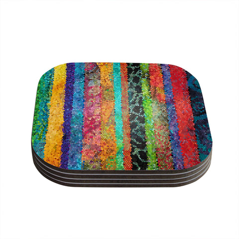 "Catherine Holcombe ""Stained Glass Batik Mosaic Stripe"" Coasters (Set of 4) - Outlet Item"