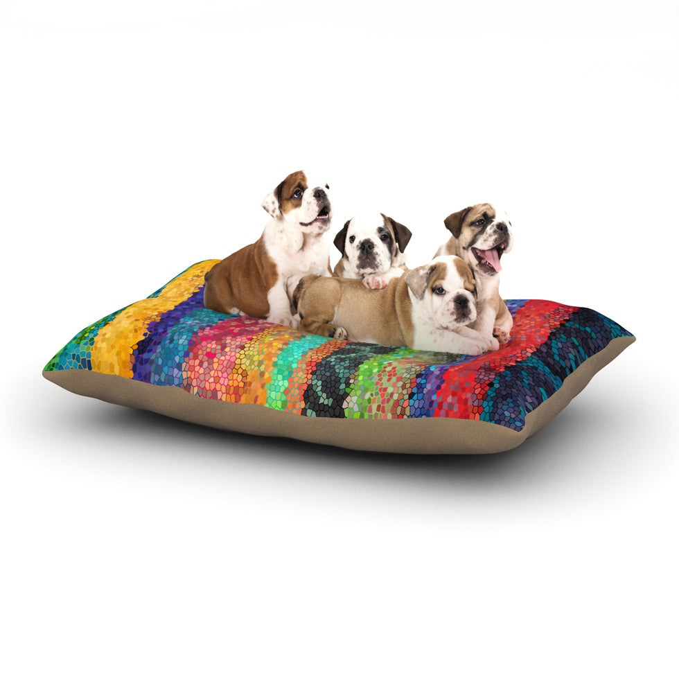 "Catherine Holcombe ""Stained Glass Batik Mosaic Stripe"" Dog Bed - KESS InHouse  - 1"