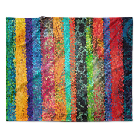 "Catherine Holcombe ""Stained Glass Batik Mosaic Stripe"" Fleece Throw Blanket - Outlet Item"