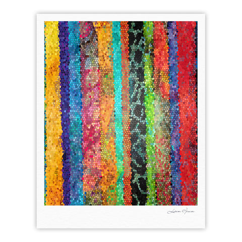 "Catherine Holcombe ""Stained Glass Batik Mosaic Stripe"" Fine Art Gallery Print - KESS InHouse"