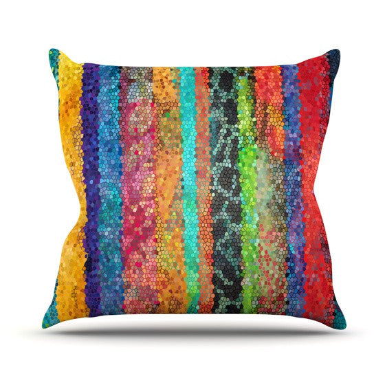 "Catherine Holcombe ""Stained Glass Batik Mosaic Stripe"" Outdoor Throw Pillow - KESS InHouse  - 1"