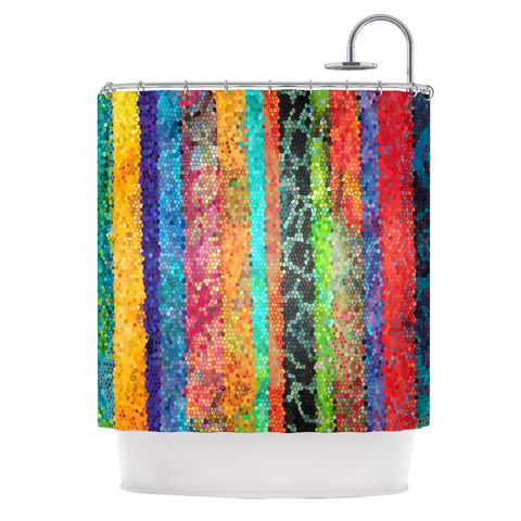 "Catherine Holcombe ""Stained Glass Batik Mosaic Stripe"" Shower Curtain - KESS InHouse"