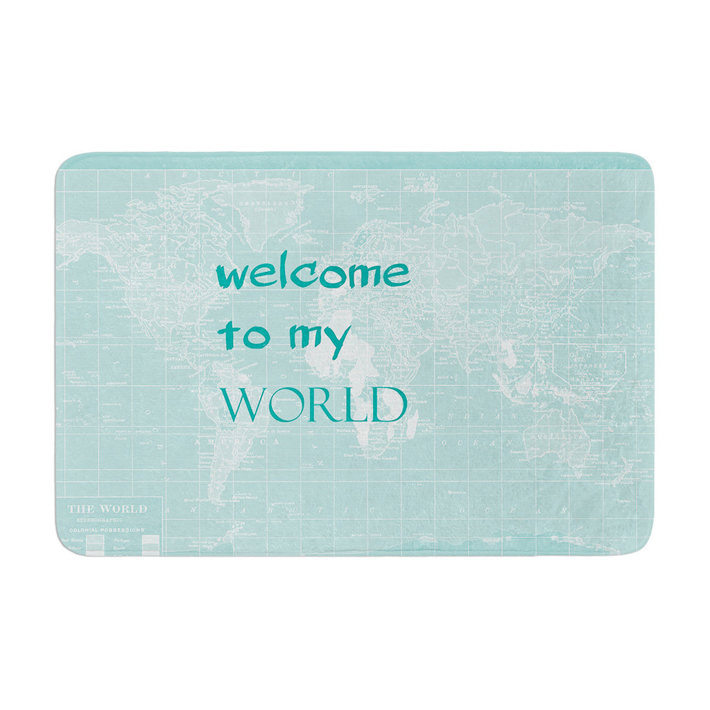 "Catherine Holcombe ""Welcome to my World Quote"" Memory Foam Bath Mat - KESS InHouse"