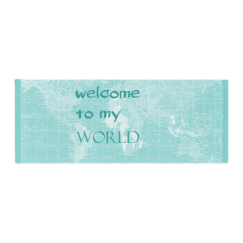 "Catherine Holcombe ""Welcome to my World Quote"" Bed Runner - KESS InHouse"