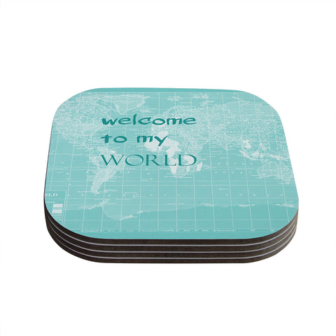 "Catherine Holcombe ""Welcome to my World Quote"" Coasters (Set of 4)"