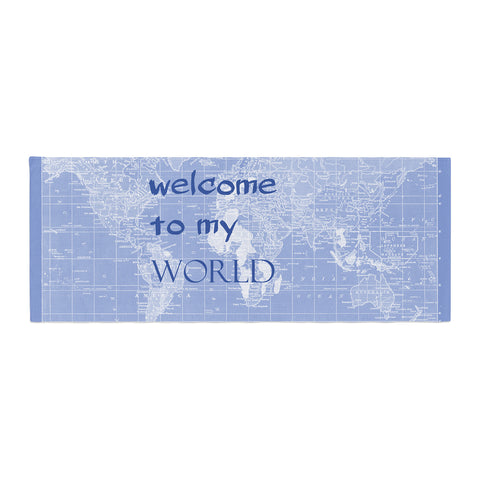 "Catherine Holcombe ""Welcome to my World Quote Indigo"" Bed Runner - KESS InHouse"
