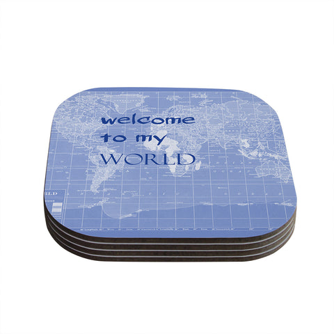 "Catherine Holcombe ""Welcome to my World Quote Indigo"" Coasters (Set of 4)"