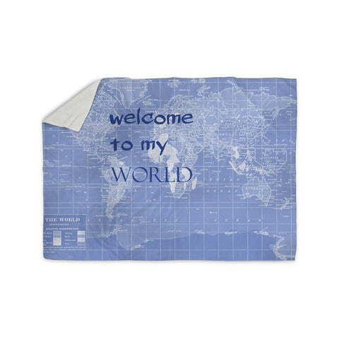 "Catherine Holcombe ""Welcome to my World Quote Indigo"" Sherpa Blanket - KESS InHouse  - 1"