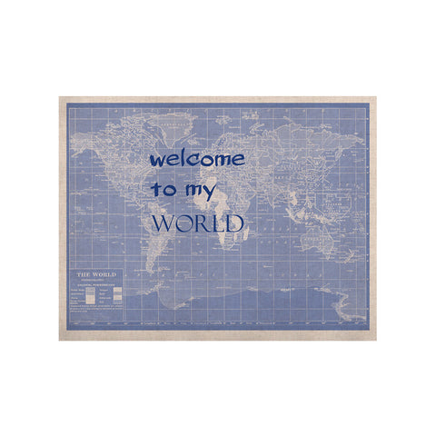 "Catherine Holcombe ""Welcome to my World Quote Indigo"" KESS Naturals Canvas (Frame not Included) - KESS InHouse  - 1"