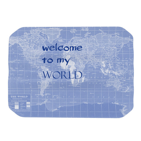 "Catherine Holcombe ""Welcome to my World Quote Indigo"" Place Mat - KESS InHouse"