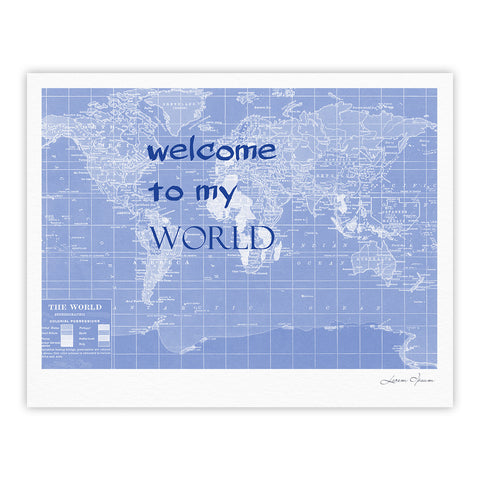 "Catherine Holcombe ""Welcome to my World Quote Indigo"" Fine Art Gallery Print - KESS InHouse"