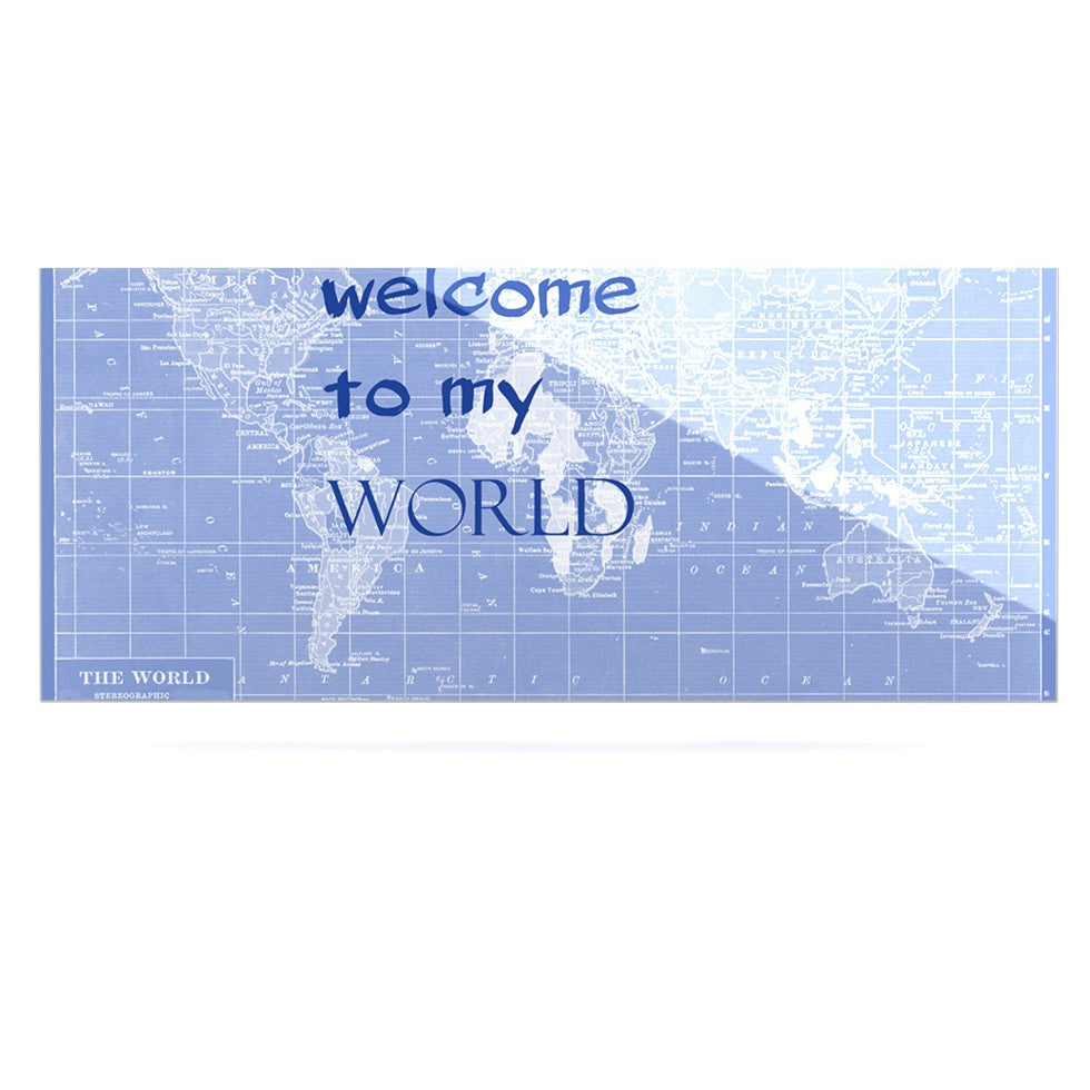 "Catherine Holcombe ""Welcome to my World Quote Indigo"" Luxe Rectangle Panel - KESS InHouse  - 1"
