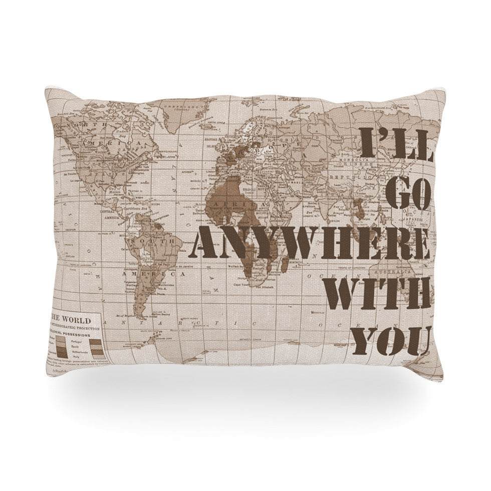 "Catherine Holcombe ""I'll Go Anywhere With You"" Brown Map Oblong Pillow - KESS InHouse"