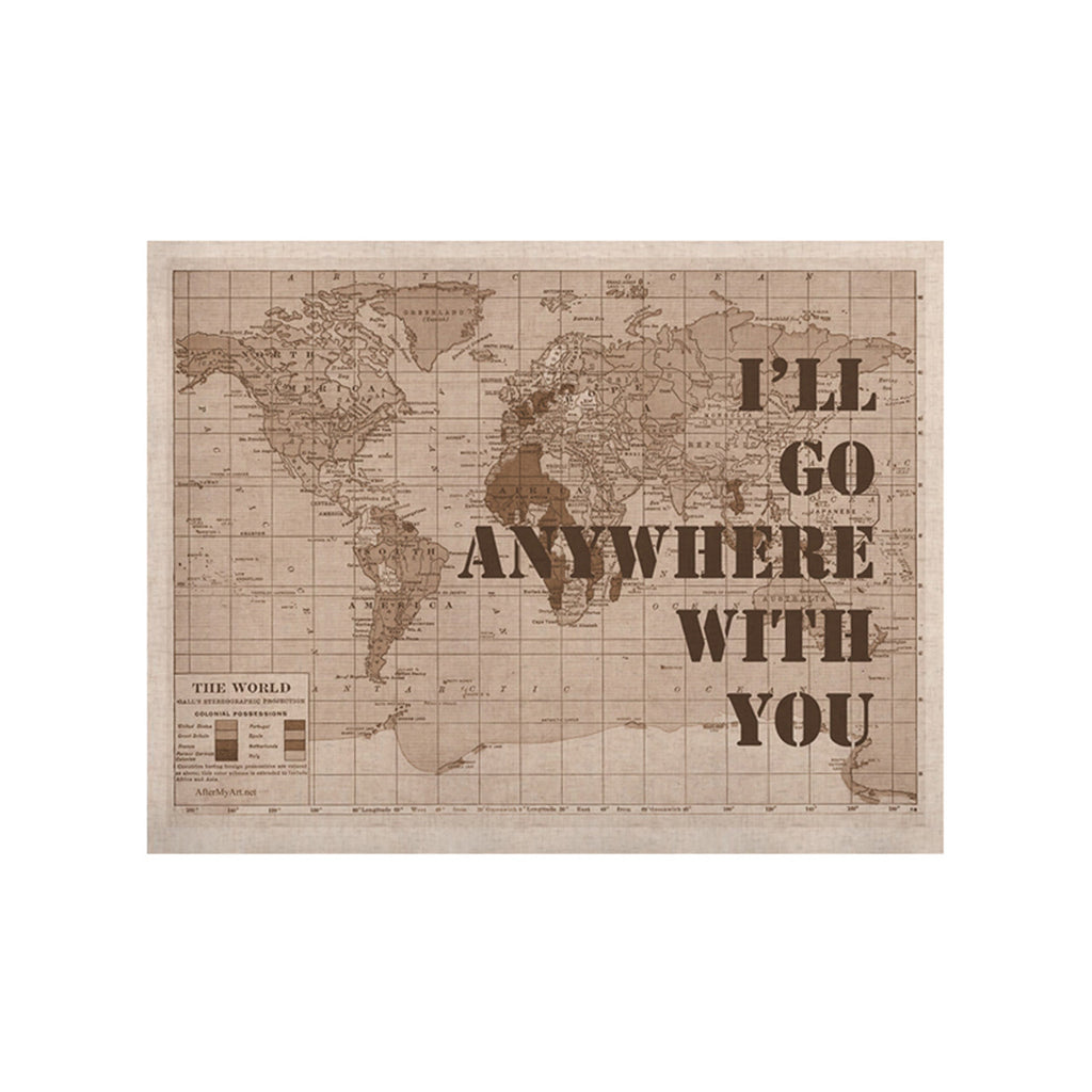 "Catherine Holcombe ""I'll Go Anywhere With You"" Brown Map KESS Naturals Canvas (Frame not Included) - KESS InHouse  - 1"